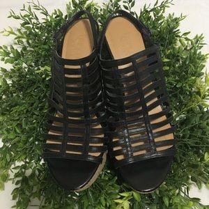 Franco Sarto Sombre Black Leather Wedge